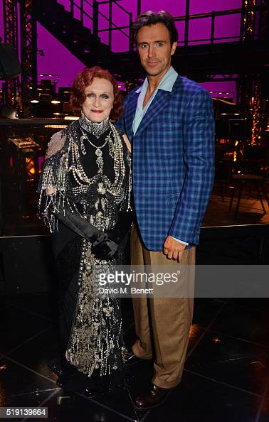 Glenn Close and Michael Xavier pose backstage at the press night performance of 'Sunset Boulevard' at The London Coliseum on April 4 2016 in London...