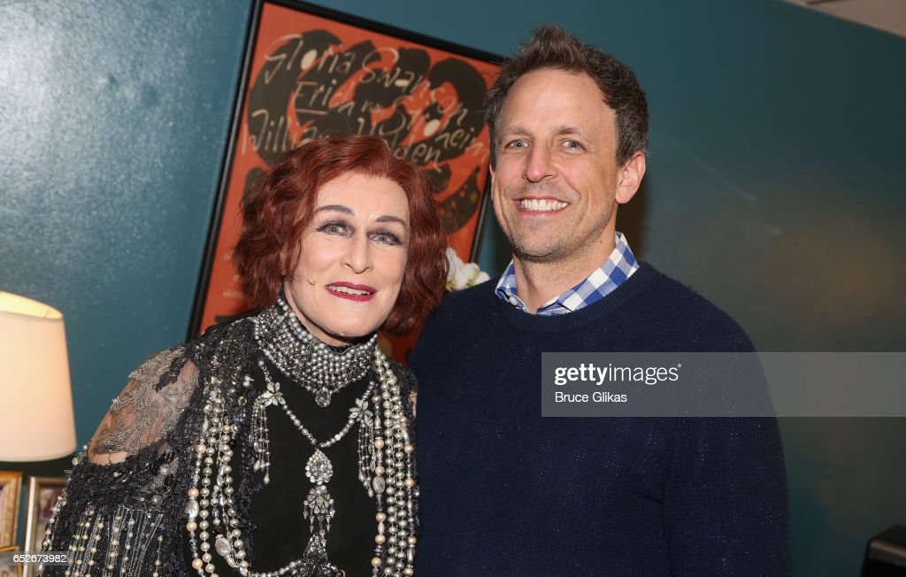 Glenn Close as 'Norma Desmond' and Seth Meyers pose backstage at the hit musical 'Sunset Boulevard' on Broadway at The Palace Theatre on March 12, 2017 in New York City.