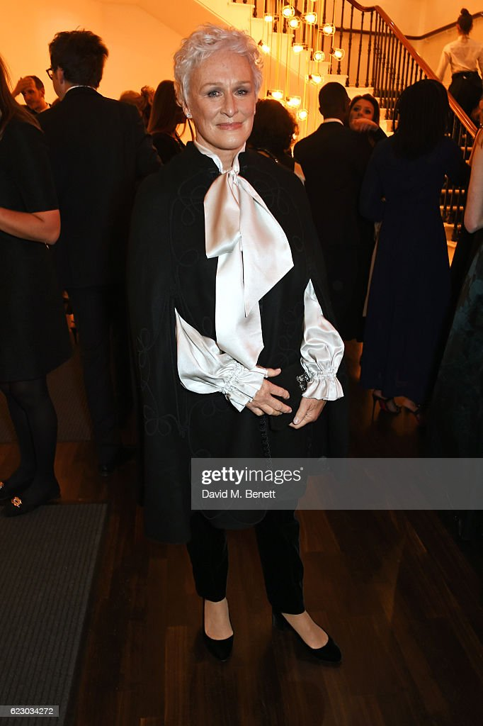 Glenn Close attends a cocktail reception at The 62nd London Evening Standard Theatre Awards, recognising excellence from across the world of theatre and beyond, at The Old Vic Theatre on November 13, 2016 in London, England.