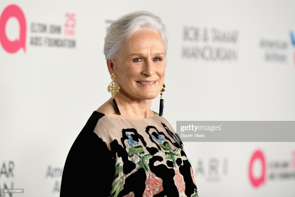 Glenn Close attends the Elton John AIDS Foundation's Annual Fall Gala with Cocktails By Clase Azul Tequila at Cathedral of St. John the Divine on November 7, 2017 in New York City.