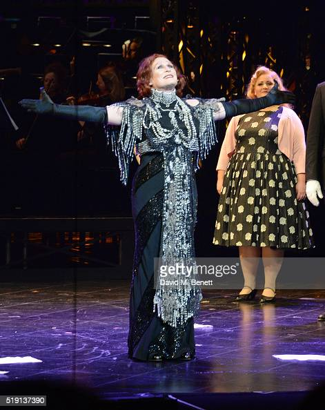 Glenn Close bows at the curtain call during the press night performance of 'Sunset Boulevard' at The London Coliseum on April 4 2016 in London England