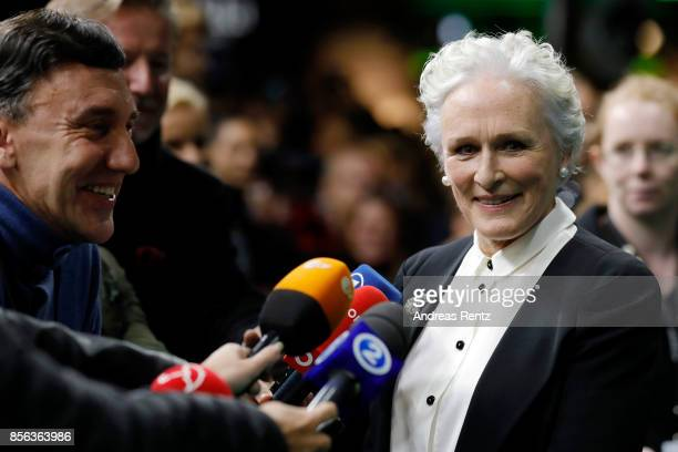 Glenn Close gives an interview as she attends the 'The Wife' premiere at the 13th Zurich Film Festival on October 1 2017 in Zurich Switzerland The...