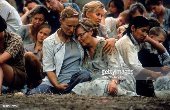 Glenn Close holds Pauline Collins in a scene from the film 'Paradise Road' 1997