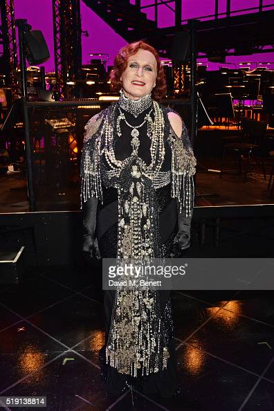 Glenn Close poses backstage at the press night performance of 'Sunset Boulevard' at The London Coliseum on April 4 2016 in London England