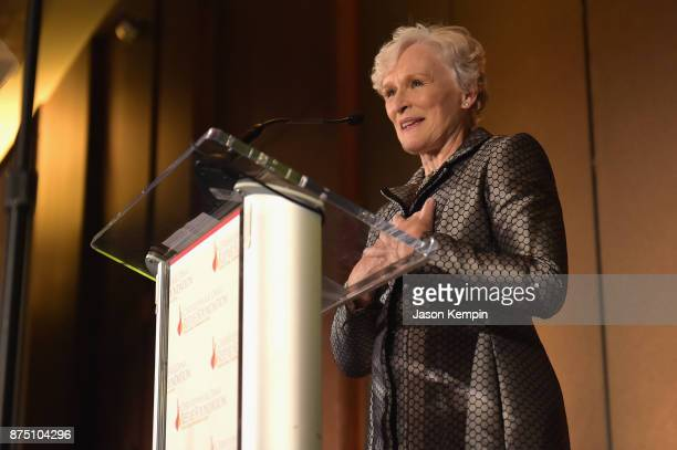 Glenn Close speaks onstage during 'A Magical Evening' Gala hosted by The Christopher Dana Reeve Foundation a at Conrad Hotel on November 16 2017 in...