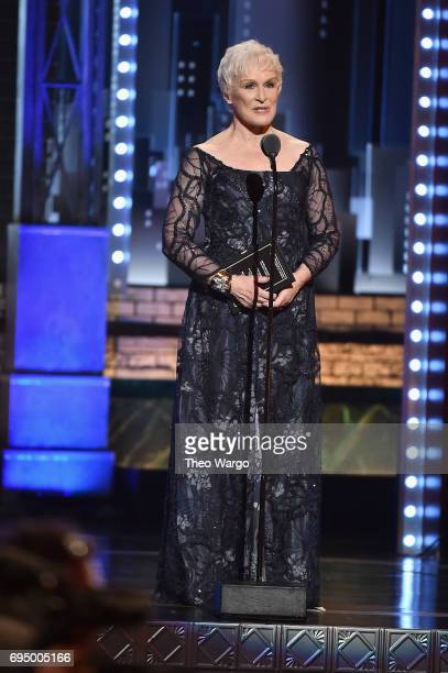 Glenn Close speaks onstage during the 2017 Tony Awards at Radio City Music Hall on June 11 2017 in New York City