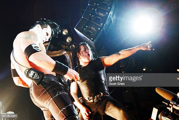 Glenn Danzig and Doyle von Frankenstein of punk band The Misfits perform onstage at Spirit March 1 2005 in New York City