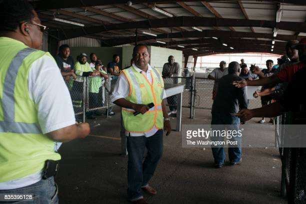 Glenn Davis Vice President of ILA 3000 assigns union workers to the night shifts at the Port of New Orleans in New Orleans Louisiana on June 27 2017