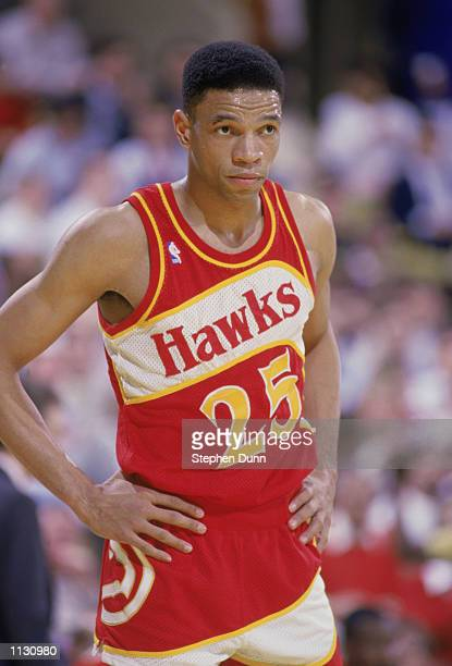 Glenn 'Doc' Rivers of the Atlanta Hawks stands on the court during a NBA game against the Los Angeles Lakers at the Great Western Forum in Inglewood...