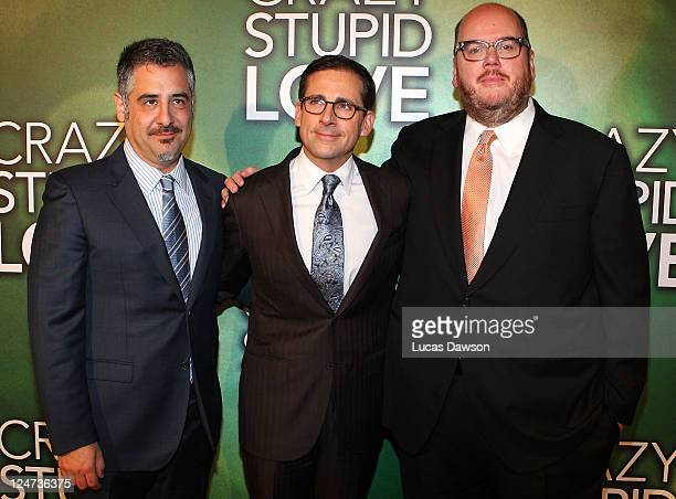 Glenn Ficarra Steve Carell and John Requa arrive at the premiere of 'Crazy Stupid Love' at Village Cinemas Rivloi on September 12 2011 in Melbourne...