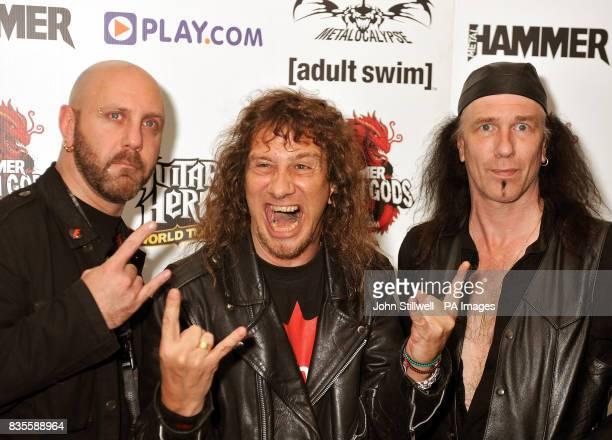Glenn Five Lips and Robb Reiner of the group Anvil arrive at the Indigo concert venue for the Metal Hammer Golden Gods awards at the O2 Arena in...