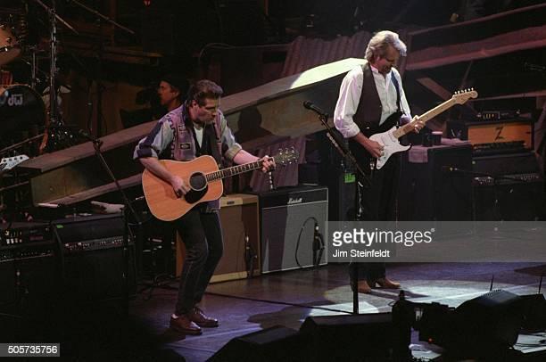 Glenn Frey and Den Felder of the Eagles perform at the Target Center in Minneapolis Minnesota on February 21 1995