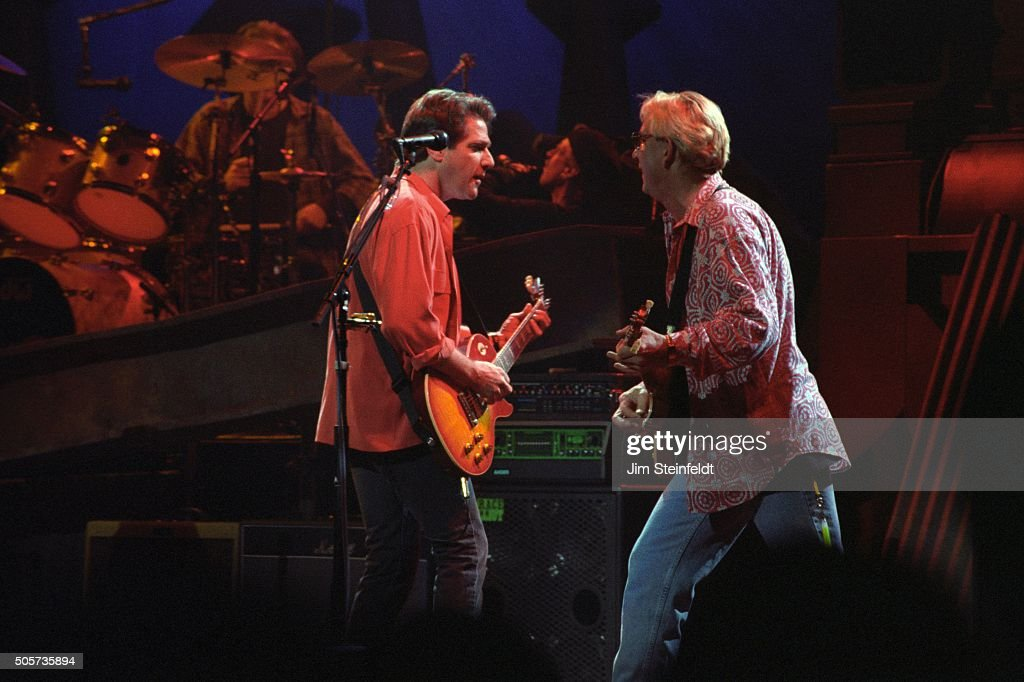 Glenn Frey and joe Walsh of the Eagles perform at the Target Center in Minneapolis Minnesota on February 22 1995
