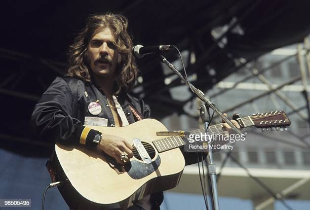 Glenn Frey of The Eagles performs live at The Oakland Coliseum in 1977 in Oakland California