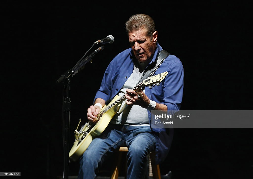 <a gi-track='captionPersonalityLinkClicked' href=/galleries/search?phrase=Glenn+Frey&family=editorial&specificpeople=223995 ng-click='$event.stopPropagation()'>Glenn Frey</a> of The Eagles performs live for fans at Qantas Credit Union Arena on March 2, 2015 in Sydney, Australia.