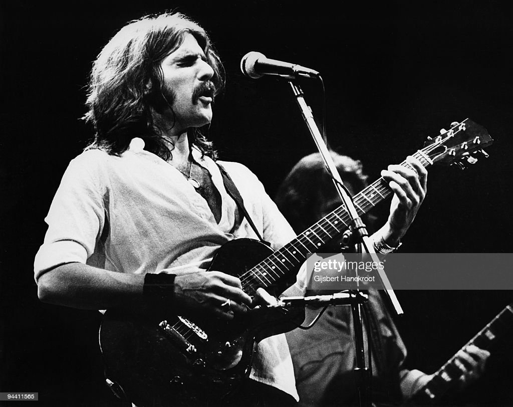 <a gi-track='captionPersonalityLinkClicked' href=/galleries/search?phrase=Glenn+Frey&family=editorial&specificpeople=223995 ng-click='$event.stopPropagation()'>Glenn Frey</a> of The Eagles performs on stage at Ahoy on May 11th 1977 in Rotterdam, Netherlands.