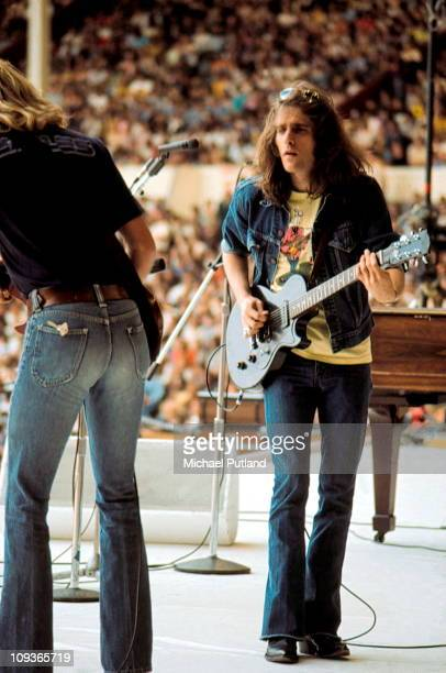 Glenn Frey of The Eagles performs on stage at Wembley Stadium London 14th September 1974