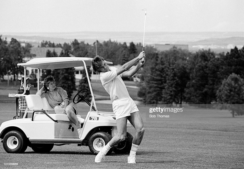 Glenn Hoddle of England plays a round of golf with his wife Ann on the hotel course during pre-World Cup training at Colorado Springs, Colorado, USA on 18th May 1986. (Bob Thomas/Getty Images).