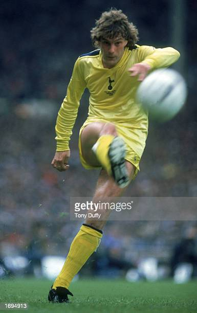Glenn Hoddle of Tottenham Hotspur passes the ball during the FA Cup Final between Tottenham Hotspur and Queens Park Rangers held on May 22 1982 at...