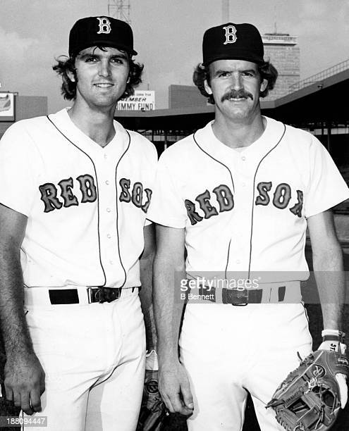 Glenn Hoffman and Dave Stapleton of the Boston Red Sox pose for a portrait in April 1985 at Fenway Park in Boston Massachusetts