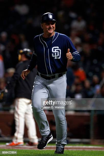 Glenn Hoffman of the San Diego Padres jogs across the field during the first inning against the San Francisco Giants at ATT Park on September 29 2017...
