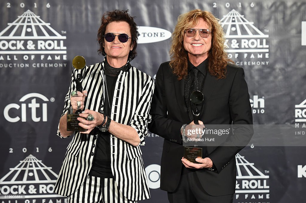 Glenn Hughes (L) and David Coverdale of Deep Purple speak on stage at the 31st Annual Rock And Roll Hall Of Fame Induction Ceremony at Barclays Center on April 8, 2016 in New York City.