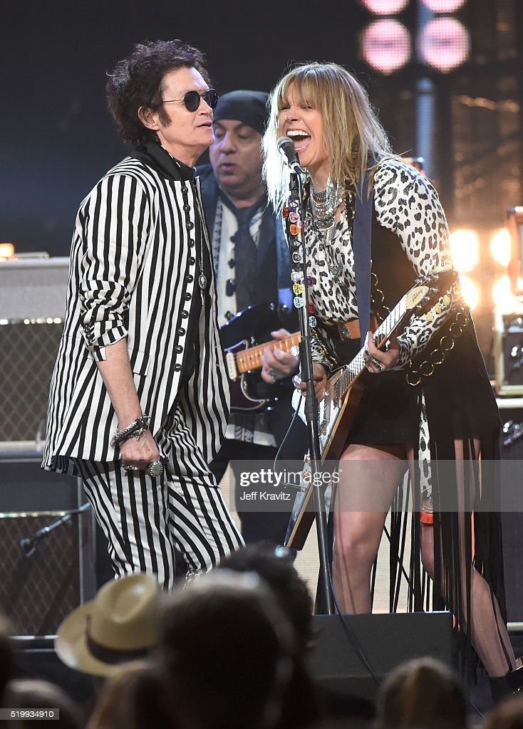 Glenn Hughes, Steven Van Zandt, and Grace Potter perform the finale onstage at the 31st Annual Rock And Roll Hall Of Fame Induction Ceremony at Barclays Center of Brooklyn on April 8, 2016 in New York City.