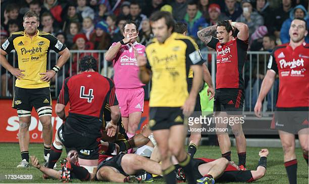 Glenn Jackson refree blows timeout during the round 20 Super Rugby match between the Crusaders and the Hurricanes at AMI Stadium on July 12 2013 in...
