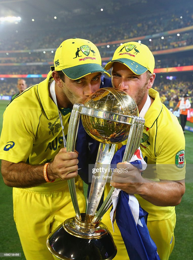 Glenn Maxwell and Aaron Finch of Australia celebrates with the trophyduring the 2015 ICC Cricket World Cup final match between Australia and New...