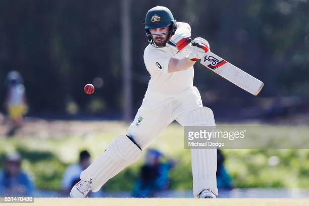 Glenn Maxwell bats during day two of the Australian Test cricket intersquad match at Marrara Cricket Ground on August 15 2017 in Darwin Australia