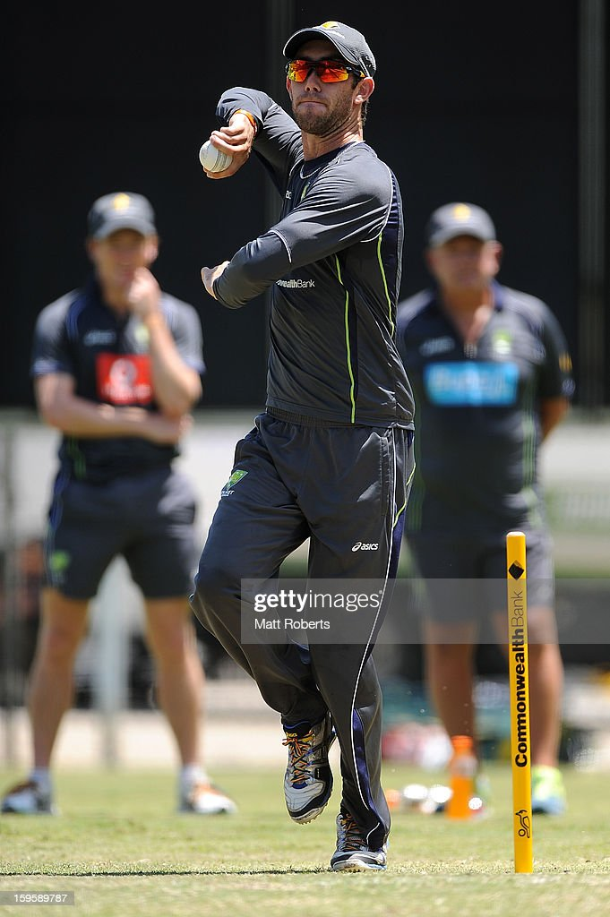 Glenn Maxwell bowls during an Australian training session at The Gabba on January 17, 2013 in Brisbane, Australia.