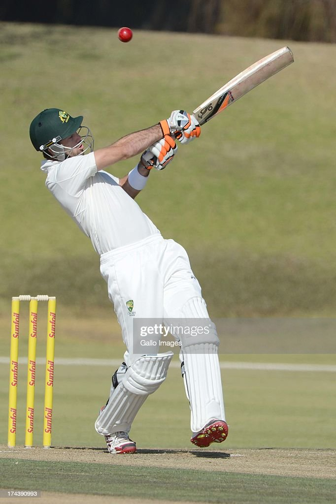 Glenn Maxwell of Australia A during day 2 of the 1st Test match between South Africa A and Australia A at Tuks Oval on July 25, 2013 in Pretoria, South Africa.