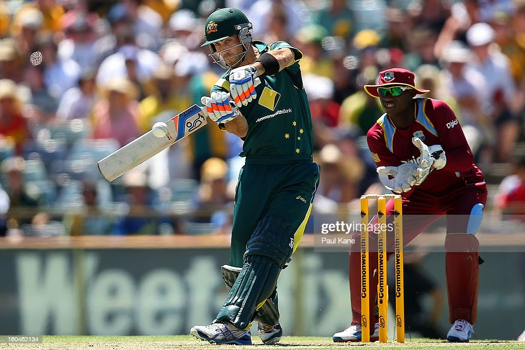 <a gi-track='captionPersonalityLinkClicked' href=/galleries/search?phrase=Glenn+Maxwell&family=editorial&specificpeople=752174 ng-click='$event.stopPropagation()'>Glenn Maxwell</a> of Australia bats during game one of the Commonwealth Bank One Day International Series between Australia and the West Indies at WACA on February 1, 2013 in Perth, Australia.
