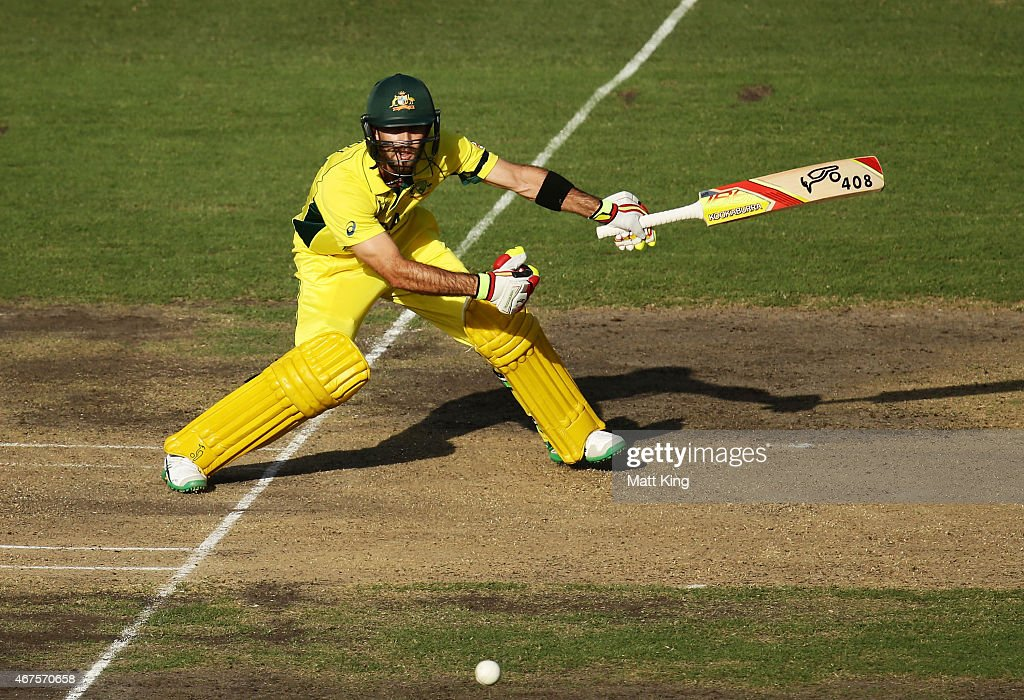 Glenn Maxwell of Australia bats during the 2015 Cricket World Cup Semi Final match between Australia and India at Sydney Cricket Ground on March 26...