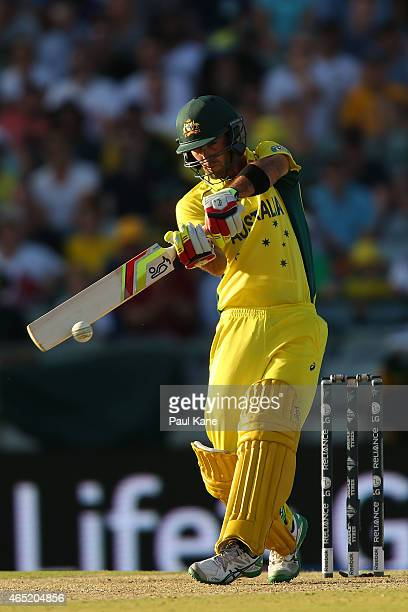 Glenn Maxwell of Australia bats during the 2015 ICC Cricket World Cup match between Australia and Afghanistan at WACA on March 4 2015 in Perth...