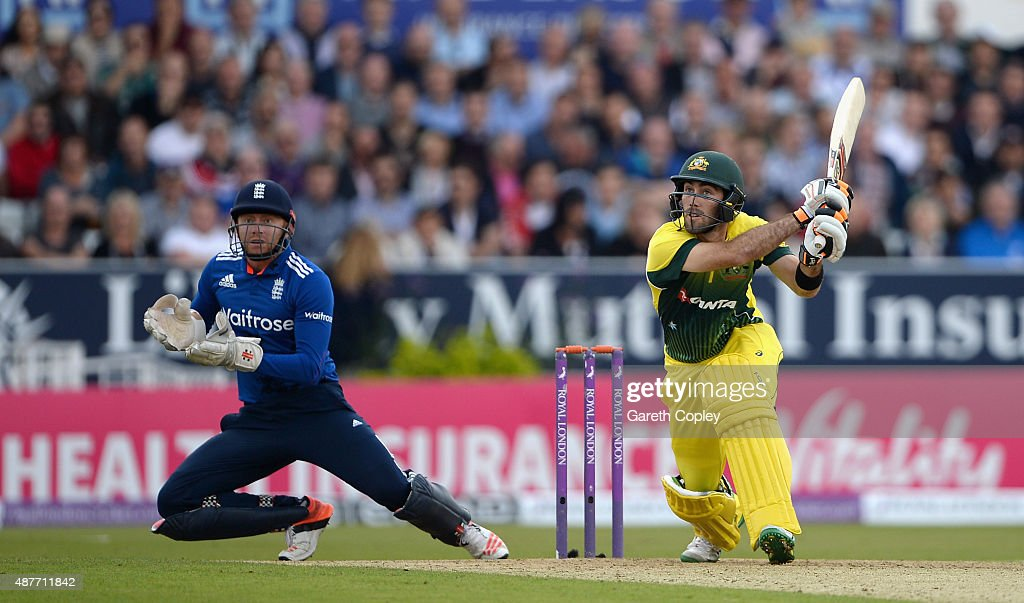 Glenn Maxwell of Australia bats during the 4th Royal London OneDay International match between England and Australia at Headingley on September 11...