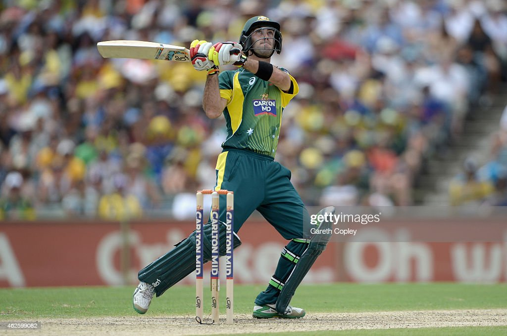 Glenn Maxwell of Australia bats during the final match of the Carlton Mid One Day International series between Australia and England at WACA on...