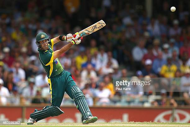 Glenn Maxwell of Australia bats during the final match of the Carlton Mid One Day International series between Australia and England at the WACA on...