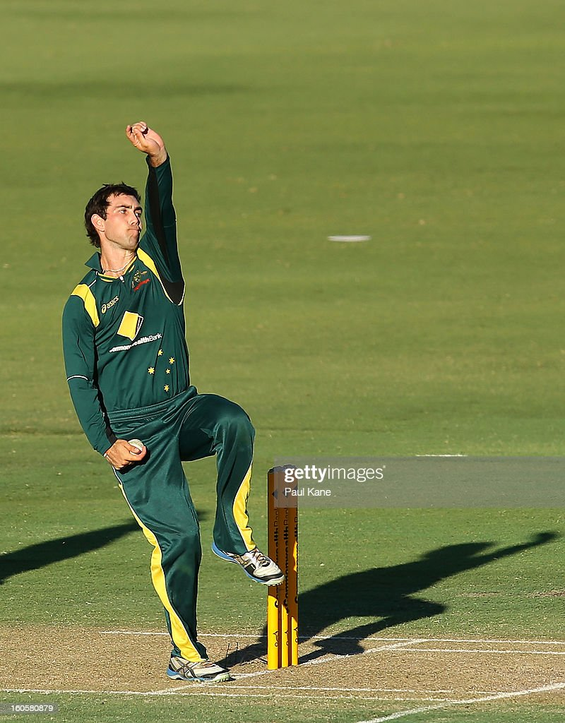Glenn Maxwell of Australia bowls during game two of the Commonwealth Bank One Day International Series between Australia and the West Indies at WACA on February 3, 2013 in Perth, Australia.