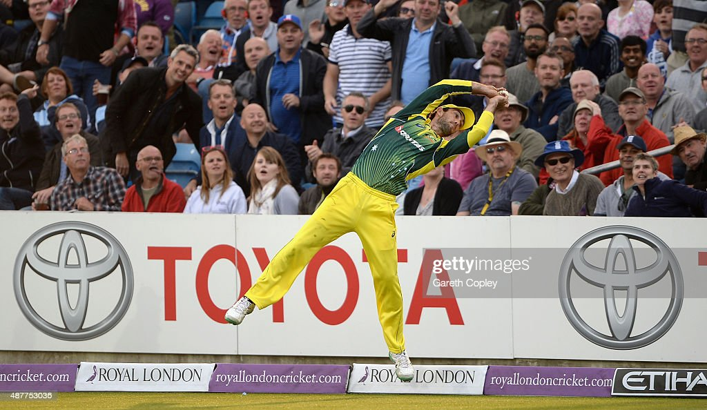 Glenn Maxwell of Australia catches out Liam Plunkett of England during the 4th Royal London OneDay International match between England and Australia...