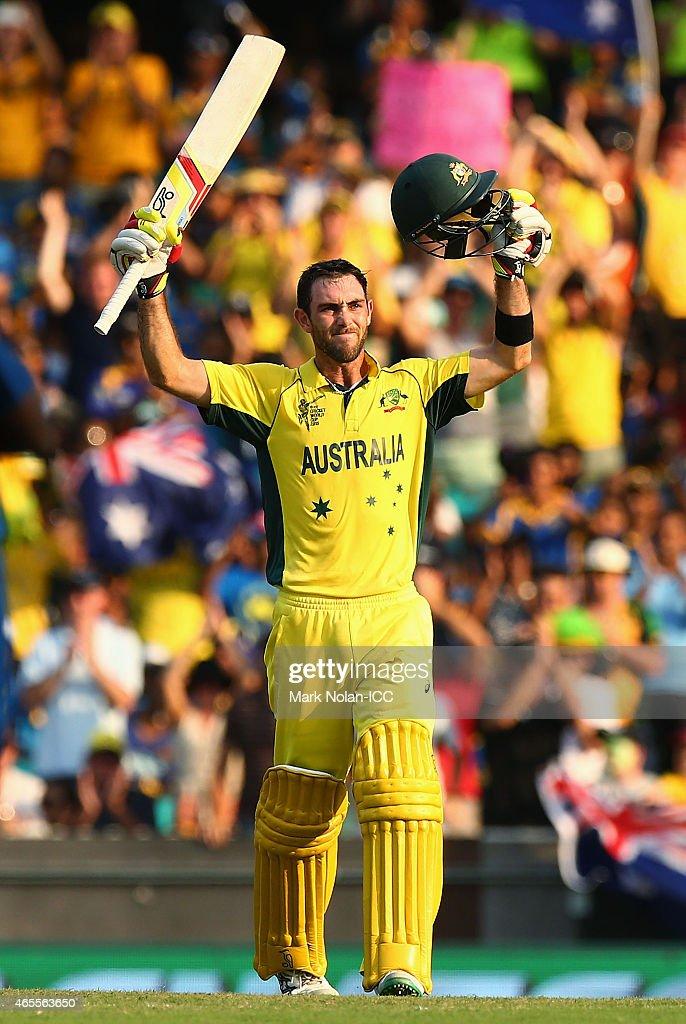 Glenn Maxwell of Australia ceelbrates scoring a century during the 2015 ICC Cricket World Cup match between Australia and Sri Lanka at Sydney Cricket...