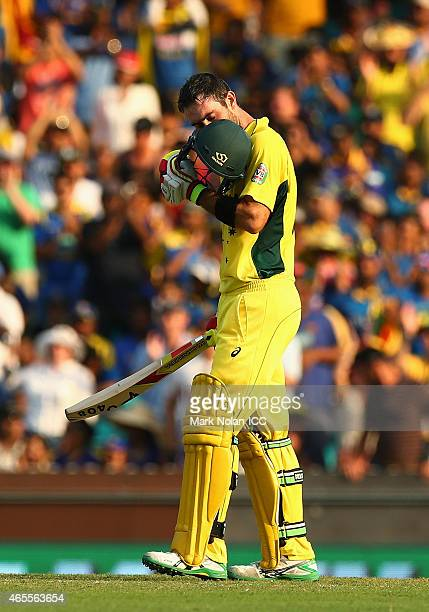 Glenn Maxwell of Australia ceelbrates scoring a century during the 2015 ICC Cricket World Cup match between Australia and Sri Lanka at Sydney Cricket...