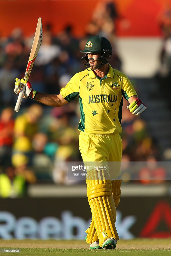 Glenn Maxwell of Australia celebrates after his half century during the 2015 ICC Cricket World Cup match between Australia and Afghanistan at WACA on...