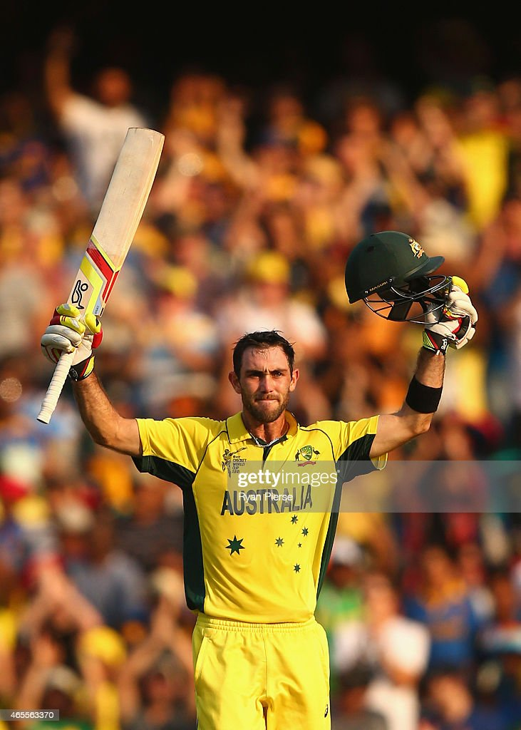 <a gi-track='captionPersonalityLinkClicked' href=/galleries/search?phrase=Glenn+Maxwell&family=editorial&specificpeople=752174 ng-click='$event.stopPropagation()'>Glenn Maxwell</a> of Australia celebrates after reaching his century during the 2015 ICC Cricket World Cup match between Australia and Sri Lanka at Sydney Cricket Ground on March 8, 2015 in Sydney, Australia.