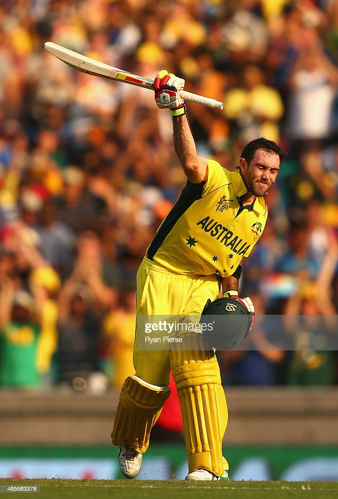 Glenn Maxwell of Australia celebrates after reaching his century during the 2015 ICC Cricket World Cup match between Australia and Sri Lanka at...