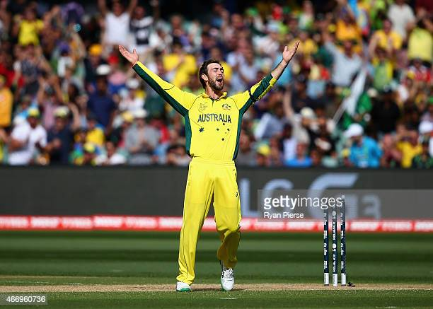 Glenn Maxwell of Australia celebrates after taking the wicket of Umar Akmal of Pakistan during the 2015 ICC Cricket World Cup match between...