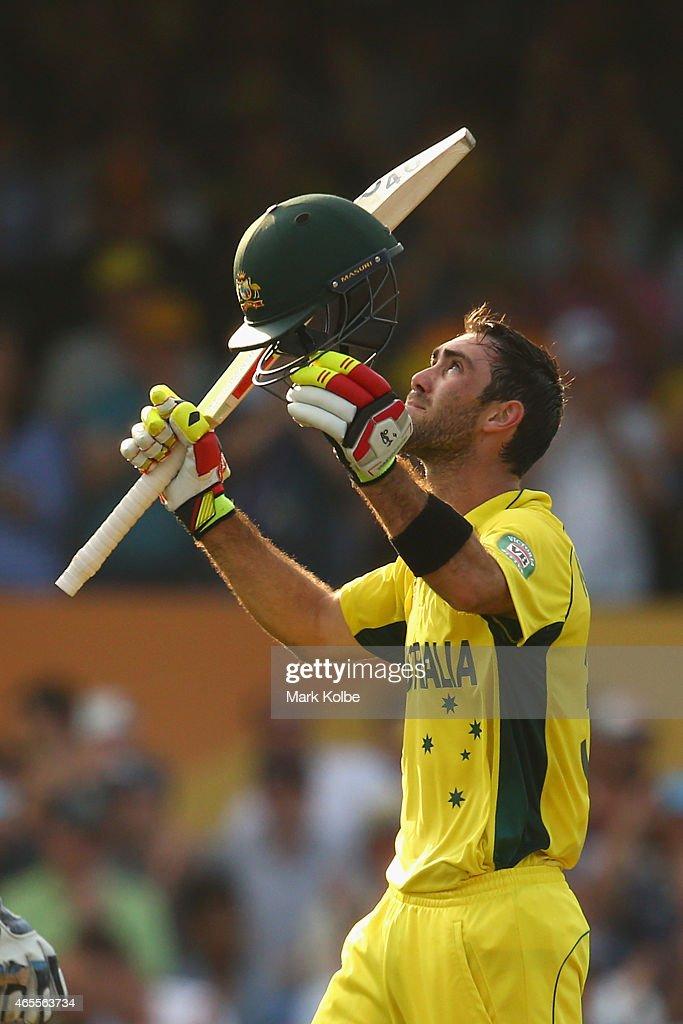 Glenn Maxwell of Australia celebrates his century during the 2015 ICC Cricket World Cup match between Australia and Sri Lanka at Sydney Cricket...