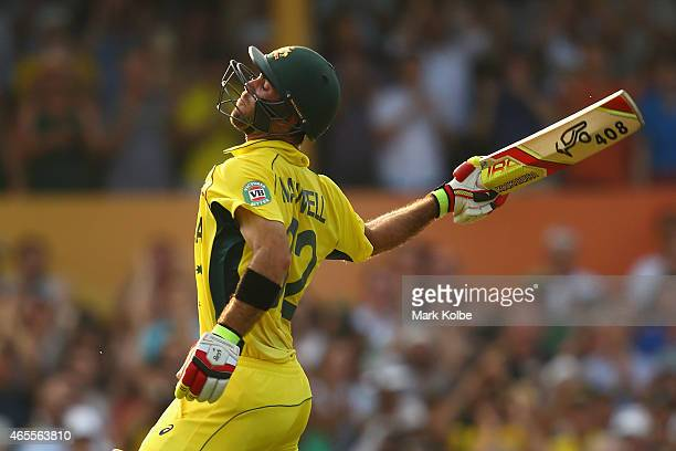 Glenn Maxwell of Australia celebrates his century during the 2015 ICC Cricket World Cup match between Australia and Sri Lanka at Sydney Cricket...