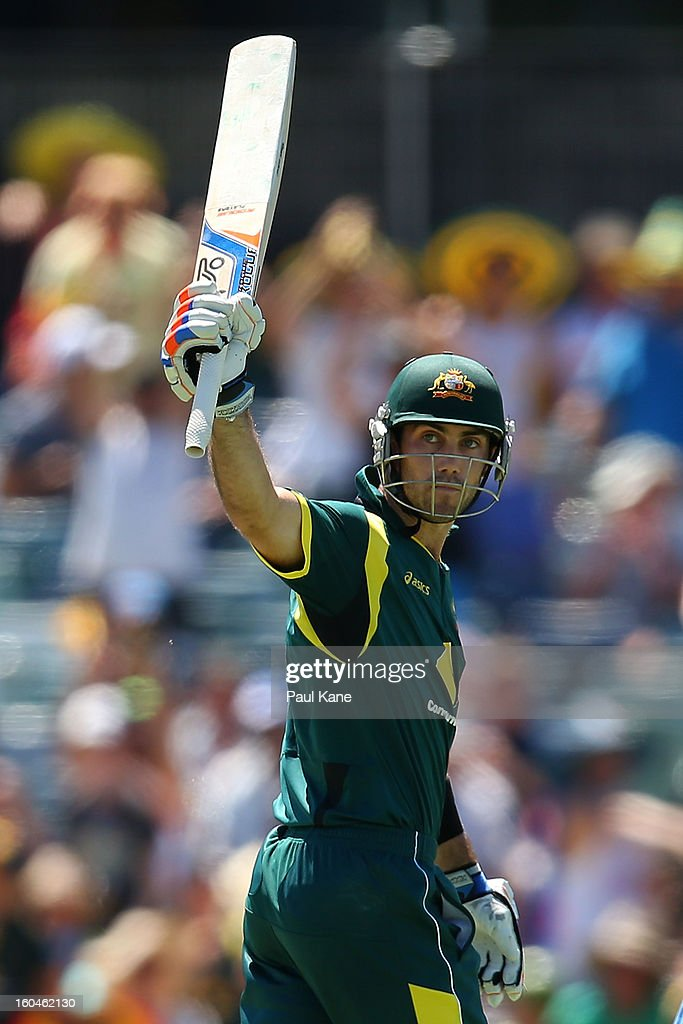 <a gi-track='captionPersonalityLinkClicked' href=/galleries/search?phrase=Glenn+Maxwell&family=editorial&specificpeople=752174 ng-click='$event.stopPropagation()'>Glenn Maxwell</a> of Australia celebrates his half century during game one of the Commonwealth Bank One Day International Series between Australia and the West Indies at WACA on February 1, 2013 in Perth, Australia.