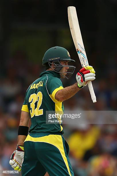 Glenn Maxwell of Australia celebrates his half century during the final match of the Carlton Mid One Day International series between Australia and...
